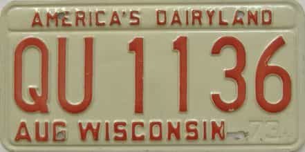 1973 Wisconsin (Single) license plate for sale