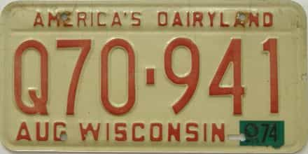 1974 Wisconsin (Single) license plate for sale