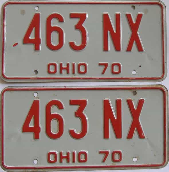 1970 Ohio  (Pair) license plate for sale