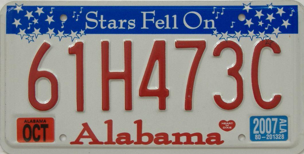 2007 Alabama license plate for sale