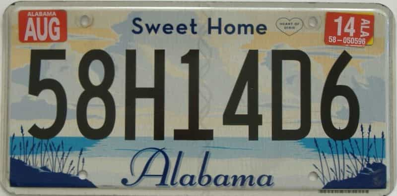 2014 Alabama license plate for sale