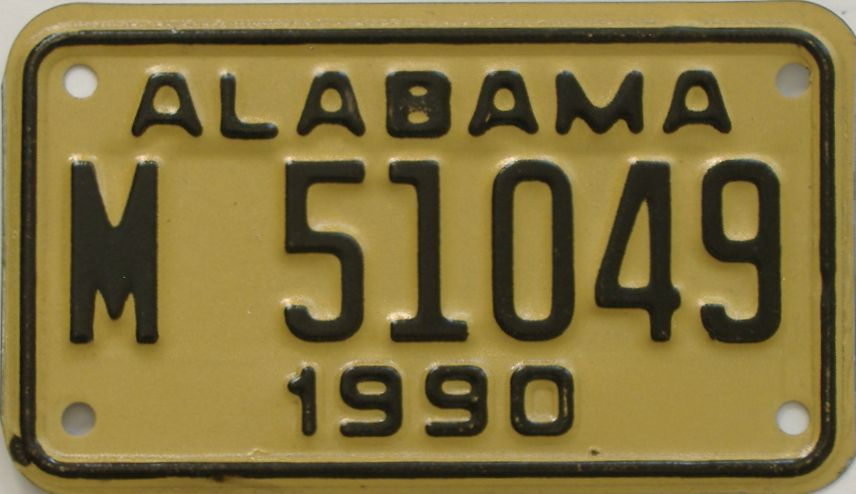 1990 Alabama (Motorcycle) license plate for sale