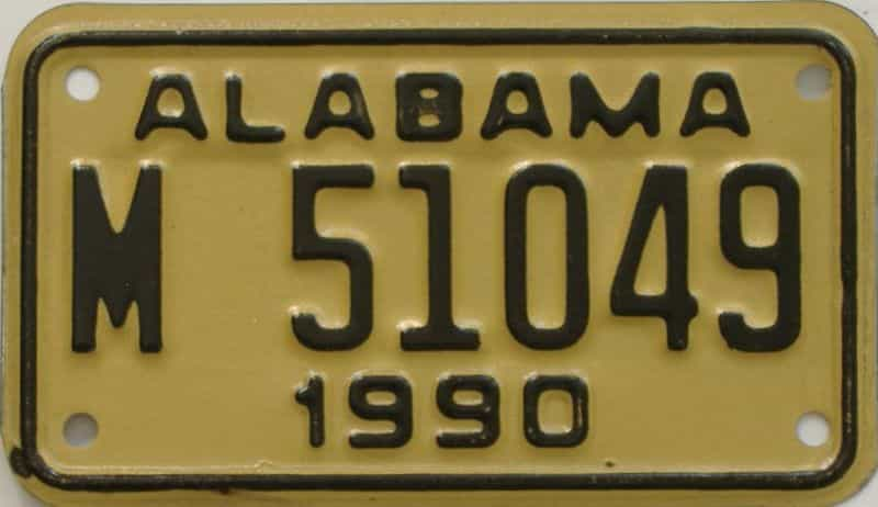 1990 AL (Motorcycle) license plate for sale