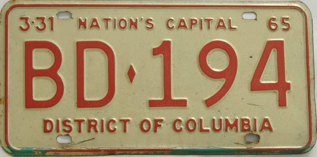 1965 District Of Columbia (Single) license plate for sale