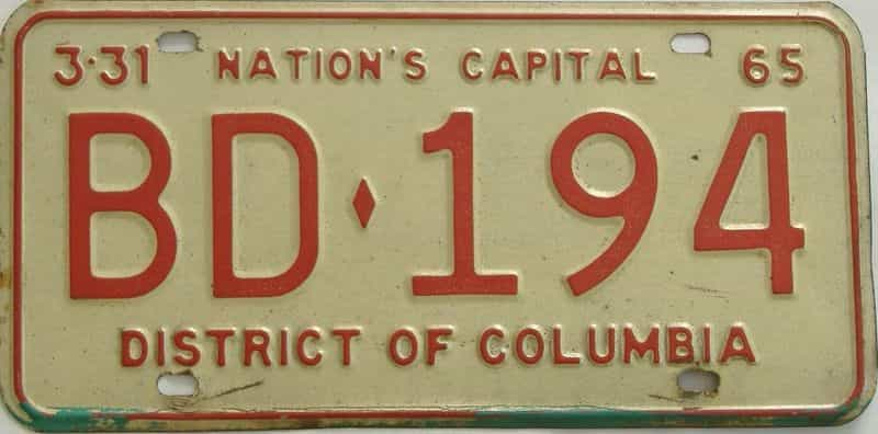 1965 DC (Single) license plate for sale