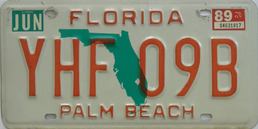 1989 Florida license plate for sale
