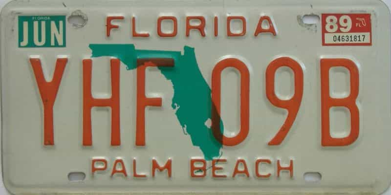 1989 FL license plate for sale