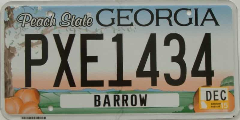 2015 GA license plate for sale