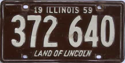 1959 Illinois  (Single) license plate for sale