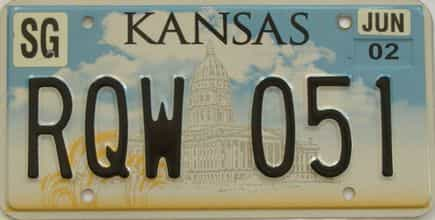 2002 Kansas license plate for sale