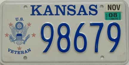 2008 Kansas (Natural) license plate for sale