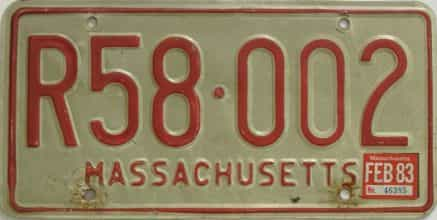 1983 Massachusetts license plate for sale