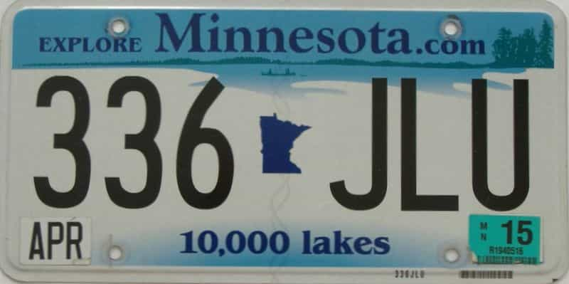2015 MN (Single) license plate for sale
