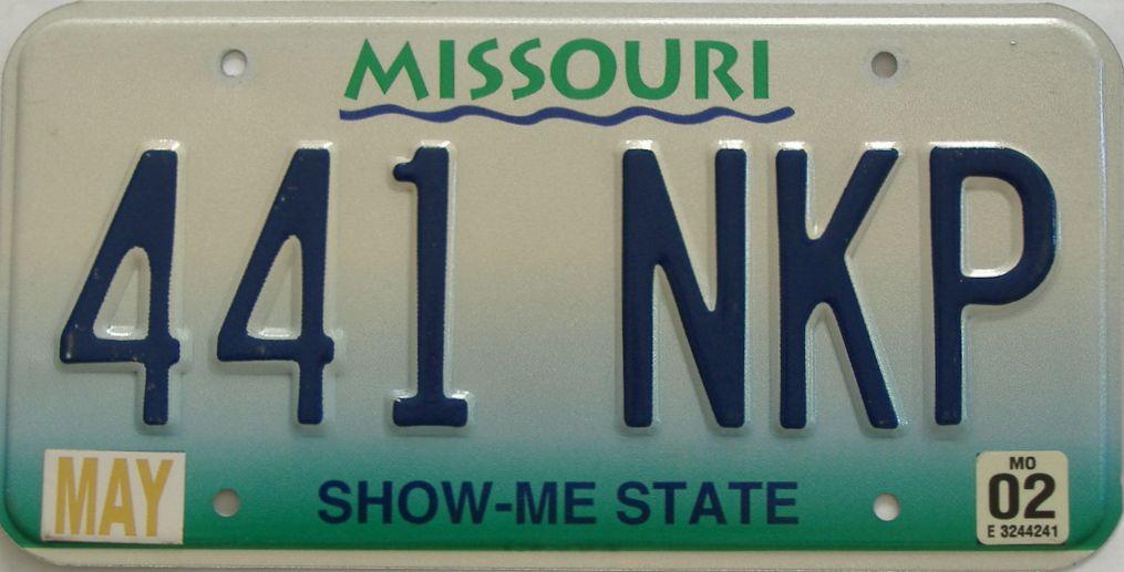 2002 Missouri (Single) license plate for sale