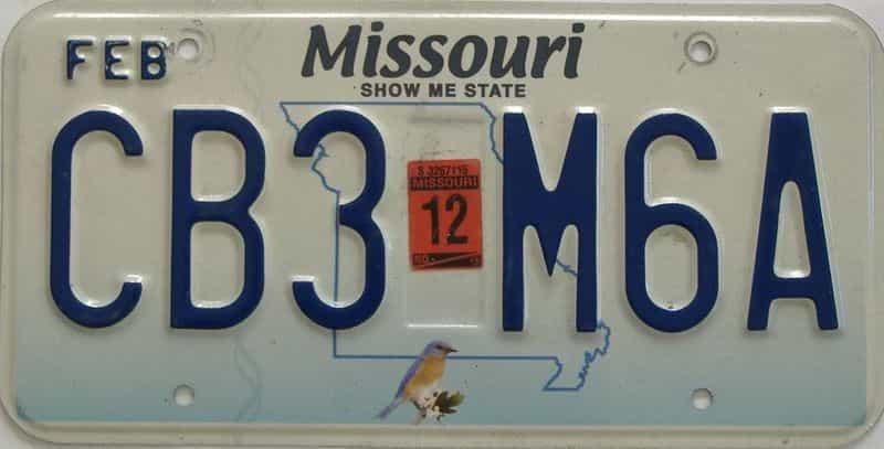 2012 Missouri (Single) license plate for sale