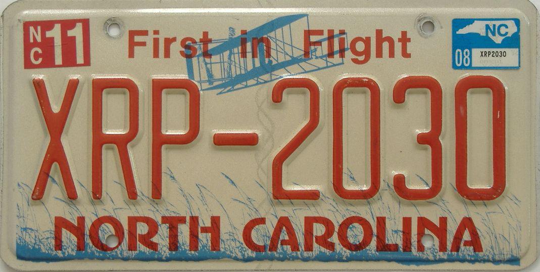 2008 North Carolina license plate for sale