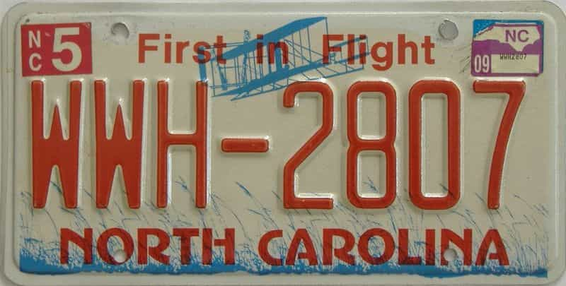2009 North Carolina license plate for sale