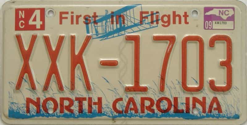 2009 North Carolina license plate for sale
