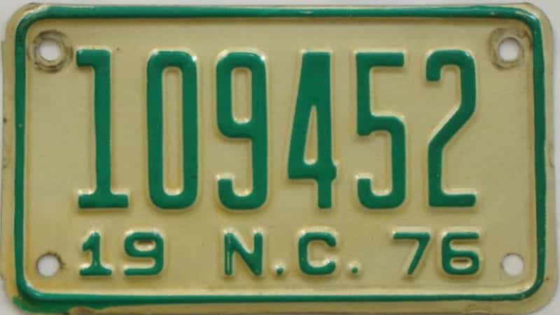 1976 North Carolina  (Motorcycle) license plate for sale