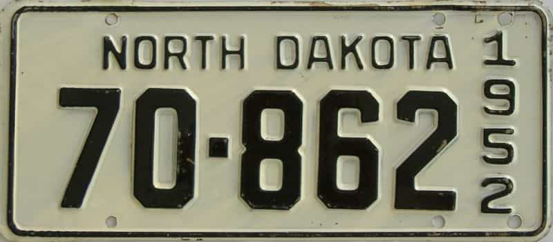 1952 ND (Single) license plate for sale