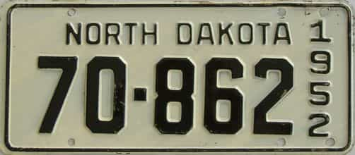 1952 North Dakota (Single) license plate for sale