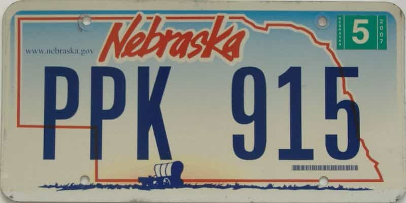 2007 NE (Single) license plate for sale