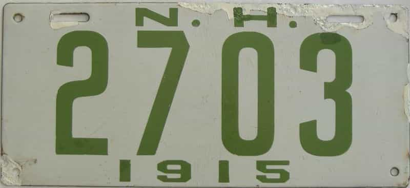 1915 New Hampshire (Touched Up) license plate for sale