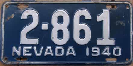 1940 Nevada (Single) license plate for sale