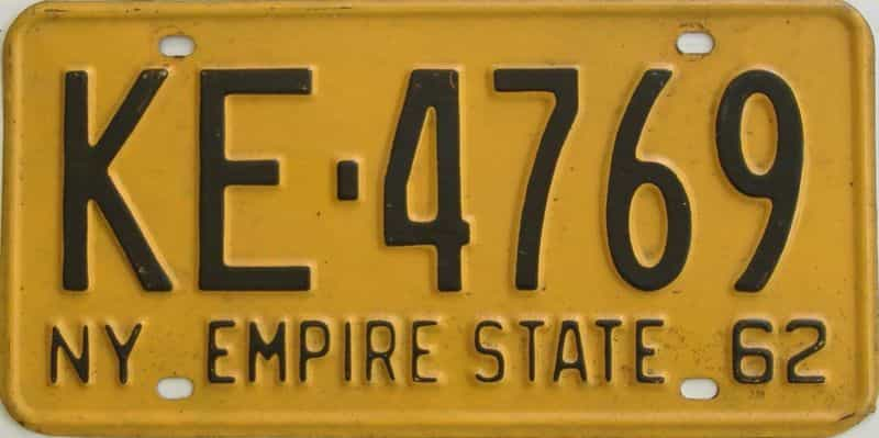 1962 New York (Single) license plate for sale