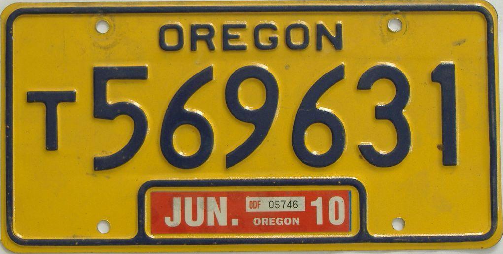 2010 Oregon (Single) license plate for sale