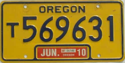 2010 Oregon (Single) license plate for sale