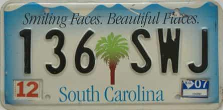 2007 South Carolina license plate for sale