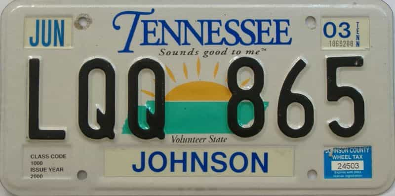 2003 Tennessee license plate for sale