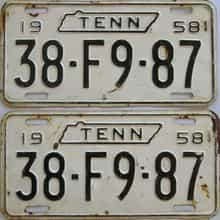 1958 Tennessee (Pair) license plate for sale