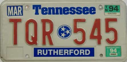 1994 Tennessee license plate for sale