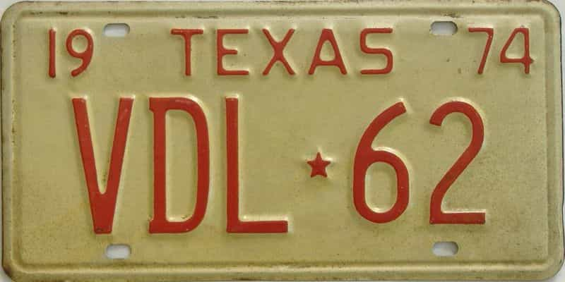 1974 TX (Single) license plate for sale