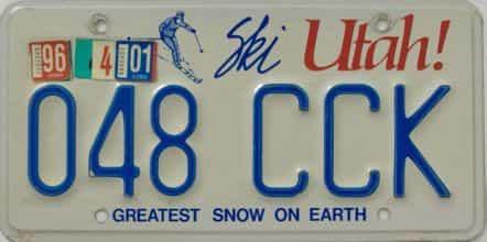 1996 Utah  (Single) license plate for sale