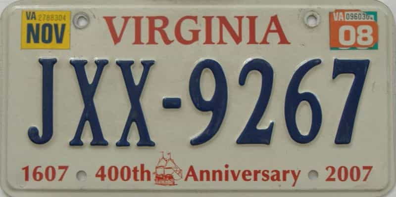 2008 Virginia (Single) license plate for sale