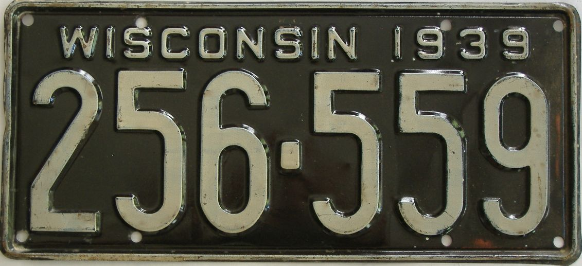 1939 Wisconsin (Single) license plate for sale