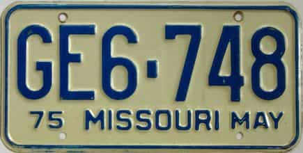 1975 Missouri (Single) license plate for sale