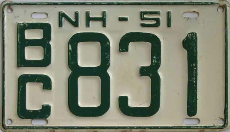 1951 New Hampshire (Single) license plate for sale