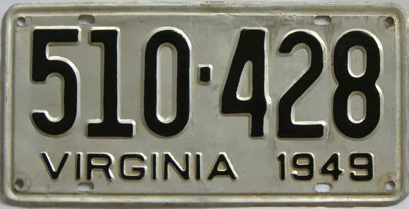 1949 VA (Touched Up) license plate for sale