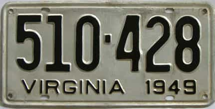 1949 Virginia (Touched Up) license plate for sale
