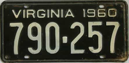 1960 Virginia (Single) license plate for sale