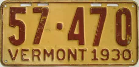 1930 Vermont (Single) license plate for sale