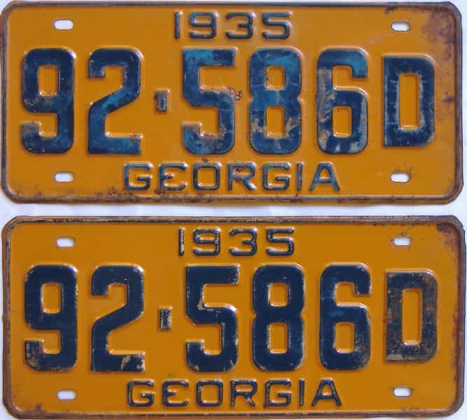 YOM 1935 GA (Pair) license plate for sale