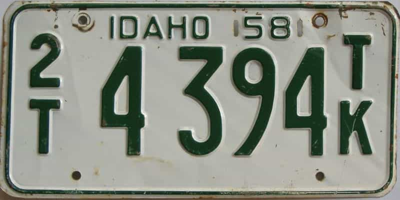 1958 ID (Truck) license plate for sale