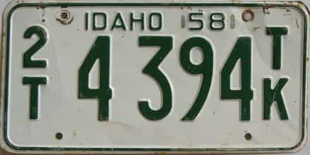1958 Idaho (Truck) license plate for sale