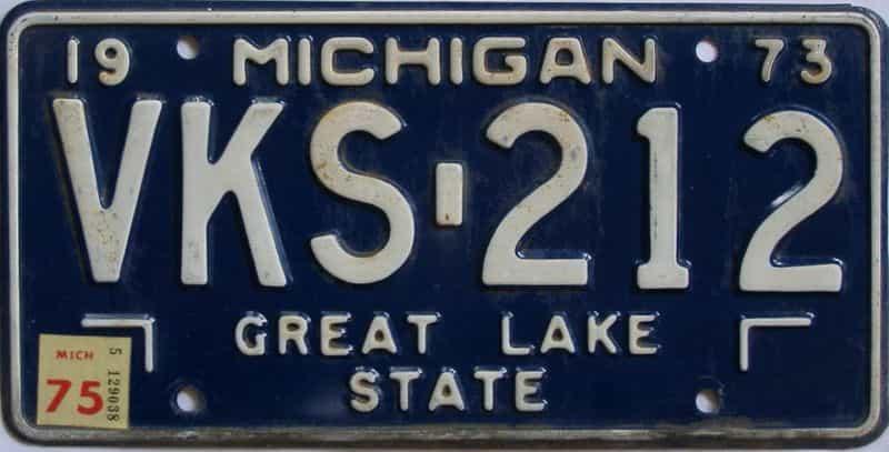 1975 Michigan (Single) license plate for sale
