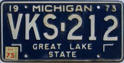 1975 Michigan (Single) license plate for sale